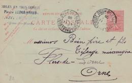 "Uzel - Entier Postal Type Semeuse Lignée- Cachet Magasin ""Pierre Ledourneuf "" Scan Recto-verso - Postales Tipos Y (antes De 1995)"