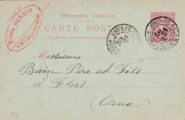 """Moncontour - Entier Postal Type Semeuse Lignée- Cachet Magasin """"Emile Renaud """" Scan Recto-verso - Enteros Postales"""