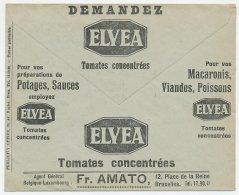 Postal Cheque Cover Belgium 1934 Tomato - Noodles - Meat - Fish - Oil - Shell - Car - Legumbres