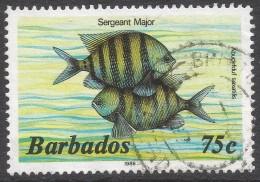 Barbados. 1985 Marine Life. 75c Used. 1986 Imprint. SG 805B - Barbades (1966-...)