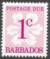 Barbados. 1976 Postage Due. 1c MH. SG D14a - Barbados (1966-...)