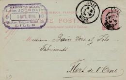 "Lille  - Entier Postal Type Semeuse Lignée- Cachet Magasin "" Leon JOURDAIN "" Scan Recto-verso - Postales Tipos Y (antes De 1995)"