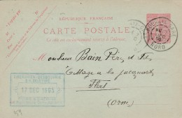 """Roubaix - Entier Postal Type Semeuse Lignée- Cachet Magasin """" TIBERGIEN-DESBOUVRIE&DELETTRE """" Scan Recto-verso - Postales Tipos Y (antes De 1995)"""