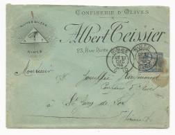 """GARD - 1894 - ENVELOPPE PUBLICITAIRE (OLIVES) De NIMES Avec """"OEIL MACONNIQUE"""" Pour ST JEAN DE FOS - Postmark Collection (Covers)"""