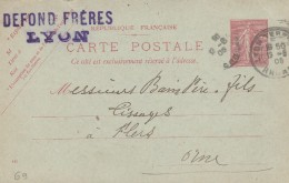 "Lyon - Entier Postal Type Semeuse Lignée- Cachet Magasin "" DEFOND FRERES "" Scan Recto-verso - Biglietto Postale"