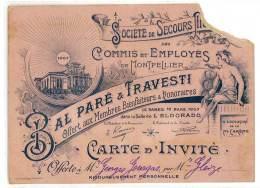 """Carte """" Bal Paré & Travesti """", Société De Secours ( Mutuels ? ) Des Commis Et Employés De Montpellier, 1907 - Publicités"""