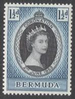 Bermuda. 1953 QEII Coronation. 1½d MNH. SG 134 - Bermuda
