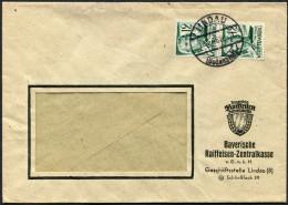 (1622) Brief Aus LINDAU (Bodensee) Vom 28.5.1948, 2x 12 Pf MeF, Abs. Bay. Raiffeisen-Zentralkasse, Sauber Gestempelt - Zone Française