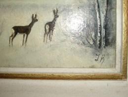Petit Tableau Sur Paneau Bois Biches Dans  Les  Bois- Signé JK - Huiles