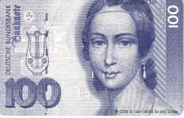 TARJETA DE ALEMANIA CON UN BILLETE DE 100 MARKS (BANKNOTE) - Sellos & Monedas
