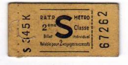 Carnet De 4 BILLETS De R.A.T.P. METRO-  Billet Individuel Pour 2 Voyages Successifs.du 67262 Au 265 - Métro