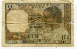 100 FRANCS BANQUE DE MADAGASCAR ET DES COMORES - Madagascar