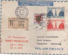 PARIS MADAGASCAR  Air France 25° Anniversaire De La Première Liaison Aérienne Par Dagnaux 1926/1951  26/11/51 - Poste Aérienne