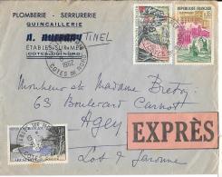 LETTRE  EN EXPRESS.  1962  ETABLES SUR MER à AGEN  ...N°1317....PAS COURANT SUR LETTRE.  1343-1312.  1fr75.. - Marcophilie (Lettres)
