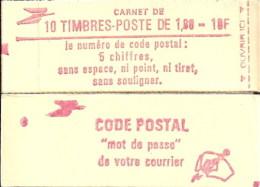 """CARNET 2220-C 5 Liberté De Delacroix """"CODE POSTAL"""" Daté 7/1/83 Fermé, Parfait état Bas Prix RARE - Usage Courant"""