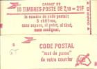 """CARNET 2319-C 1 Liberté De Delacroix """"CODE POSTAL"""" Conf. 5 Fermé Bas Prix Parfait état RARE - Usage Courant"""