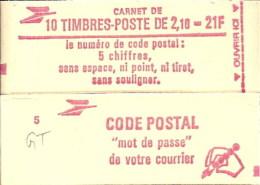 """CARNET 2319-C 1a Liberté De Delacroix """"CODE POSTAL"""" Avec R.E. Conf. 7 Fermé Bas Prix Parfait état RARE - Usage Courant"""