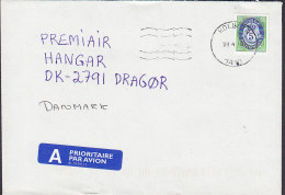Norway A PRIORITAIRE Par Avion Label KOLBOTN 1990? Cover Brief Denmark 5 Kr. Posthorn Stamp - Briefe U. Dokumente