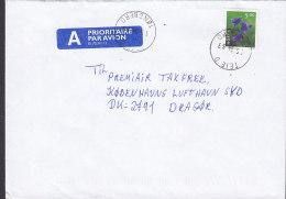 Norway A PRIORITAIRE Par Avion Label TEIE Tønsberg 1999 Cover Brief Denmark Flower Blume Stamp - Norwegen