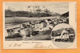 Samedan U Berninagruppe Railroad Station 1904 Postcard - Switzerland