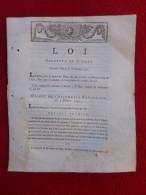 LOI RELATIVE AU TIMBRE 1791 TARIF PAPIER TIMBRE - Décrets & Lois
