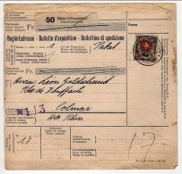 !!! COLIS POSTAL AFFRANCHISSEMENT MIXTE FRANCO SUISSE 1938 POUR COLMAR - Cartas
