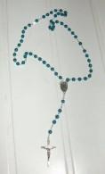 Chapelet Bleu Croix, Médaille Et Liens Argentés - Religion & Esotericism
