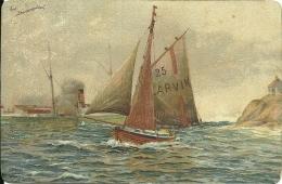 NORGE  NORWAY  NORVEGIA  Ved Stavoernsodden Illustrated  Eneret J F - Barche