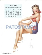 36337 ART ARTE SIGNED VAROA WOMAN SWIMWEAR SENSUAL & CALENDARY JULY 1947 8.5 X 10.8 CM PIN UPS NO POSTAL POSTCARD - Pin-Ups