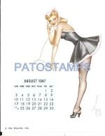36338 ART ARTE SIGNED VAROA WOMAN SENSUAL WITH PHONE & CALENDARY AUGUST 1947 8.5 X 10.8 CM PIN UPS  NO POSTAL POSTCARD - Pin-Ups