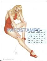 36340  ART ARTE SIGNED VAROA WOMAN SENSUAL SWIMWEAR & CALENDARY OCTOBER 1947 8.5 X 10.8 CM PIN UPS NO POSTAL POSTCARD - Pin-Ups