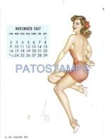36341 ART ARTE SIGNED VAROA WOMAN SENSUAL & CALENDARY NOVEMBER 1947 8.5 X 10.8 CM PIN UPS NO POSTAL POSTCARD - Pin-Ups