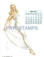 36342 ART ARTE SIGNED VAROA WOMAN SENSUAL & CALENDARY MAY 1947 8.5 X 10.8 CM PIN UPS NO POSTAL POSTCARD - Pin-Ups