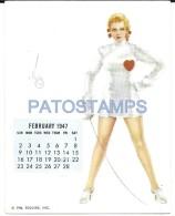 36344 ART ARTE SIGNED VAROA WOMAN SENSUAL FENCING & CALENDARY FEBRUARY 1947 8.5 X 10.8 CM PIN UPS NO POSTAL POSTCARD - Pin-Ups