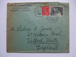 FINLAND 1935 COVER KALEVAIA STAMP FROM TOIVAKKA TO WATFORD - Covers & Documents