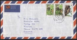 1983, BOTSWANA. BIRDS, RED BISHOP AND NEST, WOODPECKER COVER, MOCHUDI TO ENGLAND, UK. - Botswana (1966-...)