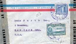VENEZUELA 1947? - LP-Brief Mit 2 Fach Frankierung Gel.v.Venezuela > New York, Examined By Censor - Venezuela