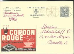 Publibel Obl. N° 1665M ( Café; CORDON ROUGE) Obl: Liège  1960 + Flamme Sur Les Vacances - Publibels