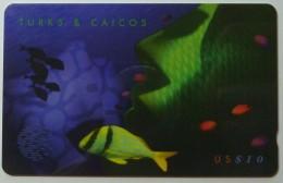 TURKS & CAICOS - GPT - 108CTCB - $10 - T&C-108B - Green Fish - Used