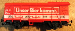 WAGON BIERE BRASSERIE UNSER BIER KOMMT ASTRA  / SANS LA BOITE / DESSOUS LILIPUT AUSTRIA - Wagons Marchandises