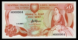 Cyprus 50 Cents 1987 UNC - Cyprus
