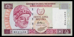 Cyprus 5 Pounds 2001 AUNC - Cyprus
