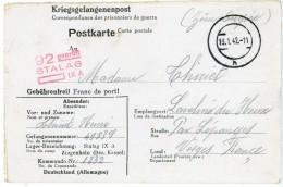 CAMP DE PRISONNIER CP 1942 STALAG IXA = ZIEGENHAIN (KASSEL) => LEPANGES VOSGES - Marcophilie (Lettres)
