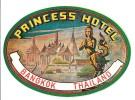 Vintage Luggage Label Etiquette D´hôtel: Princess Hotel Bangkok Thaïlande - Hotel Labels
