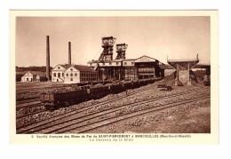 54 Saint Pierremont Mancieulles Société Anonyme Des Mines De Fer Le Carreau De La Mine Train Wagon Carte Non Voyagée - Francia