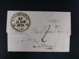 CARTA DE LANDIVISIAU 27 MARZO 1839 A LAUDERNAU EN NEGRO MATASELLO GRANDE POR DEPARTAMENTO TASA MANUSCRITA 2 NEGRO - 1801-1848: Precursores XIX