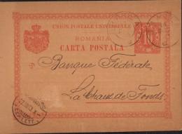 Entier Postal Roumanie Banque De Roumanie Braila Banque Fédérale La Chaux De Fonds Suisse - Postwaardestukken