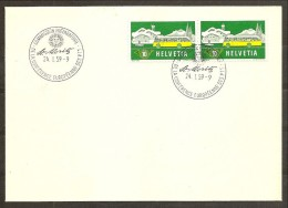 1959 Svizzera Switzerland CORRIERE POSTALE PTT  COURIER POST Coppia 10c Su Busta Ann.spec. - Posta
