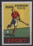 HOCKEY SUR GAZON  Matchbox Label étiquette Allumette Luciferdoosje Yougoslavie Sport - Luciferdozen - Etiketten
