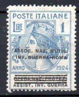 1924 Regno Parastatali - ASS. NAZ. MUTIL.INV. DI GUERRA Roma Sovrast. 1 Lira N.75 Integro MNH** - 1900-44 Victor Emmanuel III